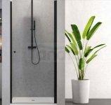 NEW TRENDY - Drzwi prysznicowe wnękowe uchylne 6mm SUPERIA BLACK czarne 90cm D-0333A