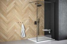 BESCO - Kabina ścianka prysznicowa WALK-IN TOCA CZARNY PROFIL 90 cm