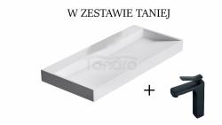 ZESTAW REA Umywalka KONGLOMERATOWA NABLATOWA GOYA 60CM + Bateria SONIC czarna niska