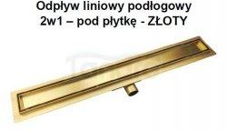 AQUALine - Odpływ liniowy posadzkowy złoty/gold 2w1 pod płytkę 90cm L04GL