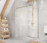 NEW TRENDY Kabina ścianka prysznicowa walk-in VELIO SATIN GOLD 100x200 8mm D-0191B