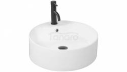 REA - Zestaw umywalka VENA biała + Bateria LUNGO BLACK niska + Korek klik-klak black uniwersalny