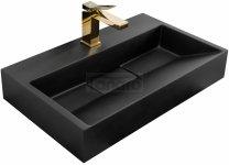 REA - Umywalka konglomeratowa nablatowa GOYA Black Mat / Czarny Mat 60cm