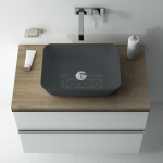 ELITA - Umywalka ceramiczna nablatowa RENI 46 ANTHRACITE MATT 145098