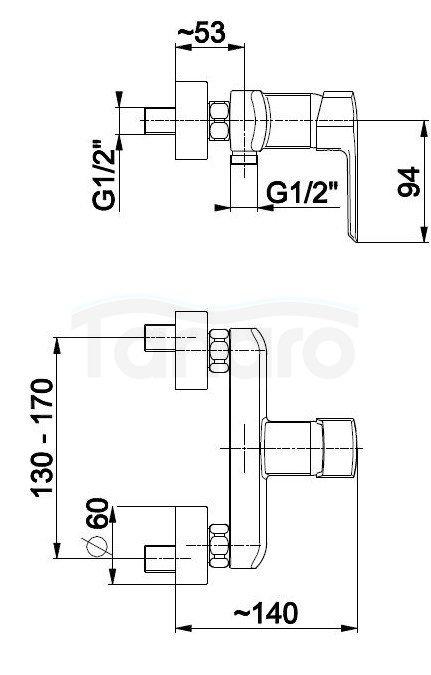 ARMATURA KRAKÓW - Bateria jednouchwytowa natryskowa ścienna AQUAMARYN 4616-010-00