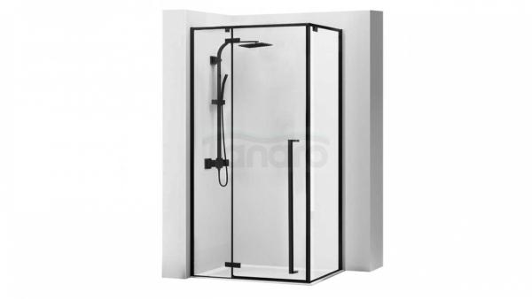 ZESTAW - Kabina prysznicowa FARGO 80X100 + zestaw prysznicowy podtynkowy SONIC czarny + Odpływ liniowy CZARNY 100 cm