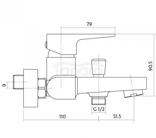 CERSANIT - Bateria wannowo-natryskowa ścienna z przełącznikiem VIGO DESIGN S951-010