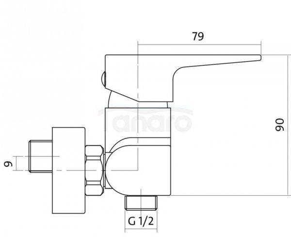 CERSANIT - Bateria natryskowa ścienna VIGO DESIGN S951-035