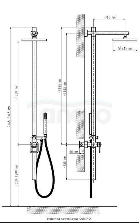 ARMATURA KRAKÓW - Zestaw natryskowy deszczownia KAMINO z wbudowaną baterią 5306-910-00