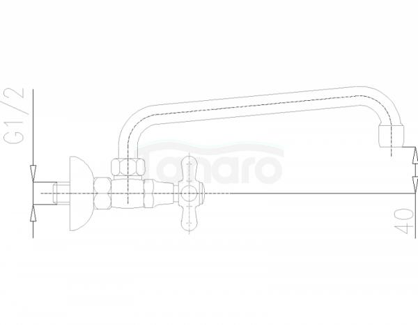 ARMATURA KRAKÓW - Retro Bateria umywalkowa ścienna 370-540-00