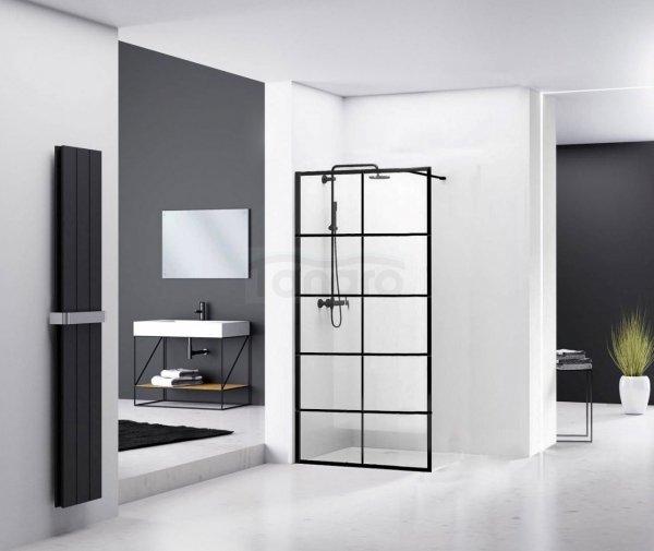 REA - Ścianka prysznicowa BLER-1 black/czarna 70