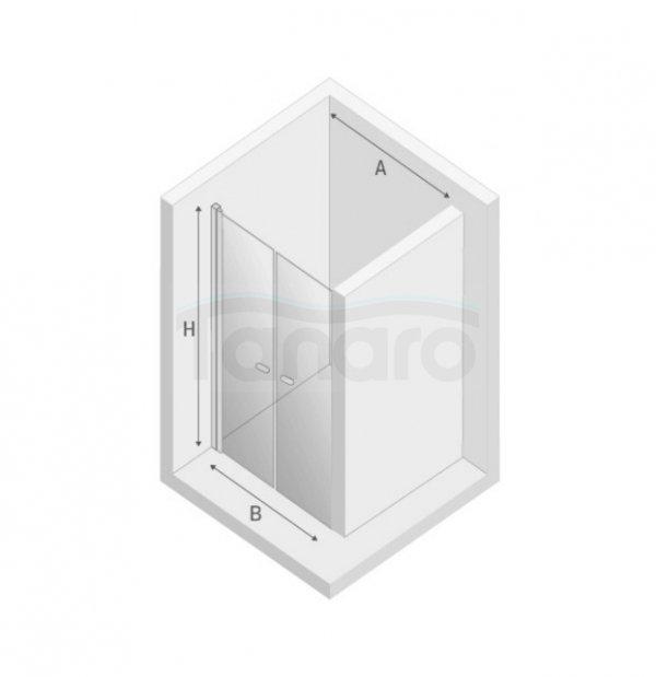 New Trendy - Drzwi prysznicowe podwójne wahadłowe NEW SOLEO / Linia Gold
