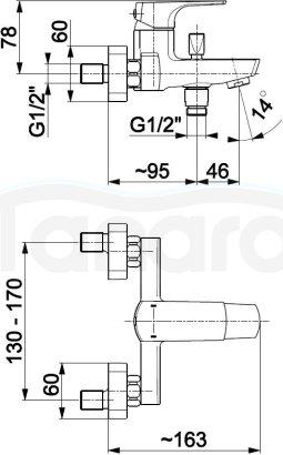 ARMATURA KRAKÓW Bateria wannowa ścienna MOKAIT BLACK/CZARNA 5534-010-81 NOWOŚĆ