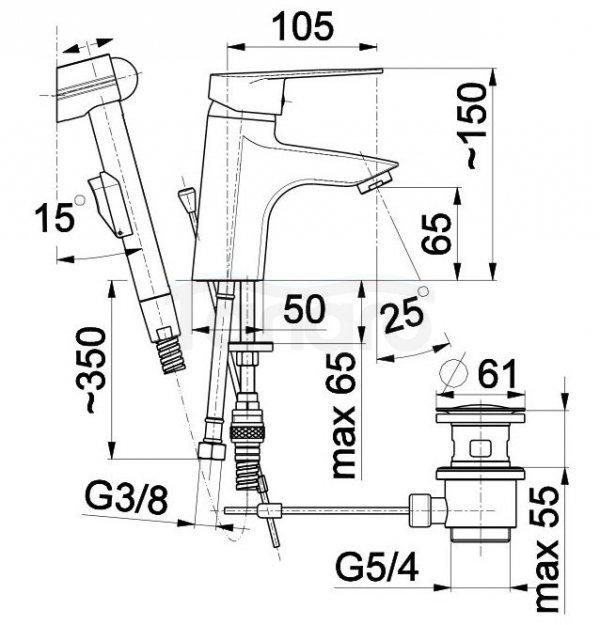 ARMATURA KRAKÓW - Bateria umywalkowa stojąca z natryskiem bidetta TOPAZ 4012-515-00