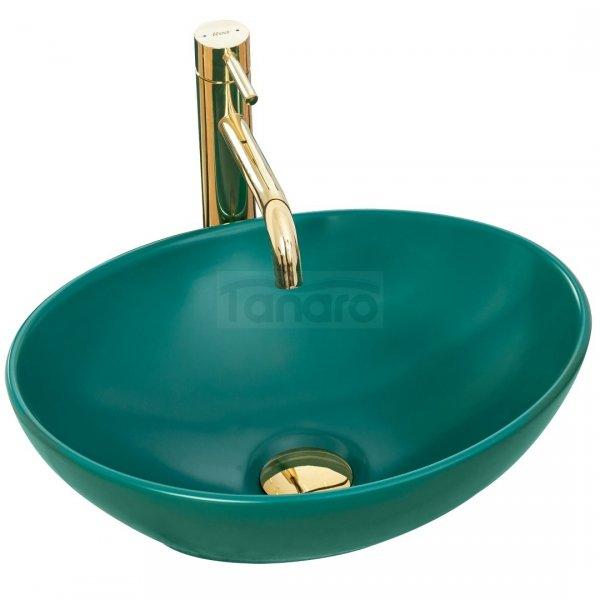 REA - Umywalka ceramiczna nablatowa SOFIA GREEN MAT zielona matowa
