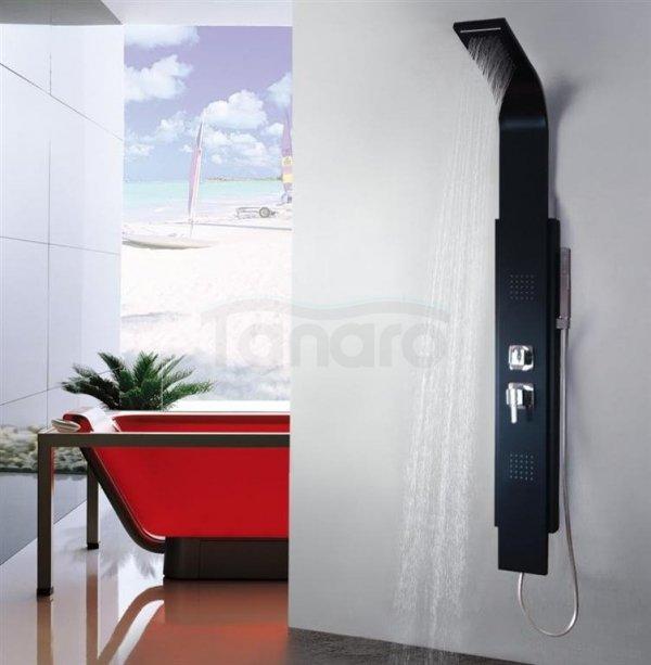 REA - Panel natryskowy 8725 czarny z kaskadą
