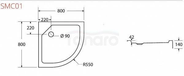 SEA-HORSE Brodzik prysznicowy półokrągły 80x80 SMC01