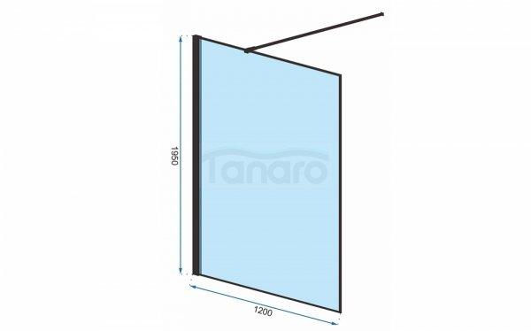 REA - Ścianka prysznicowa BLER 120 cm black/czarna