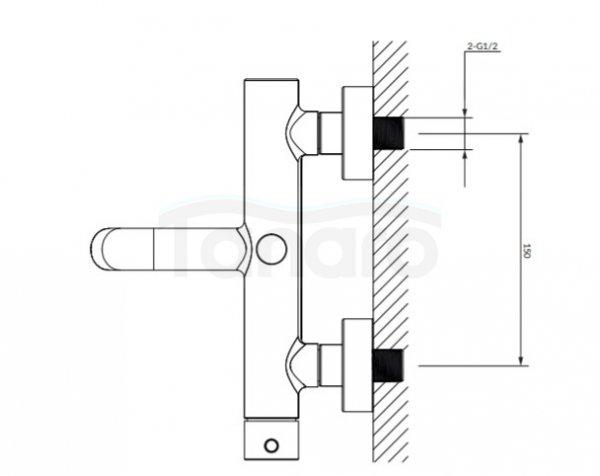 OMNIRES - Bateria wannowa ścienna złota/ gold Y1231GL Yd
