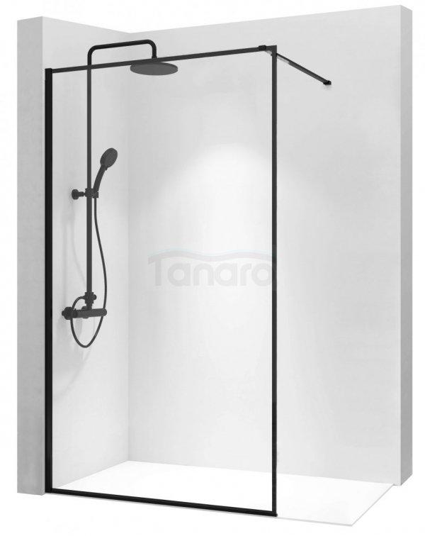 REA - Ścianka prysznicowa BLER 90 cm black/czarna