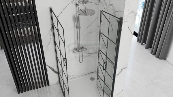 REA Kabina prysznicowa drwi składane czarna rama MOLIER BLACK DOUBLE 80x80