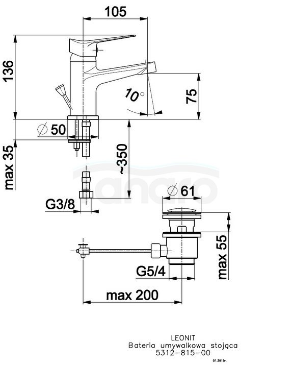 ARMATURA KRAKÓW - Bateria jednouchwytowa, umywalkowa LEONIT 5312-815-00