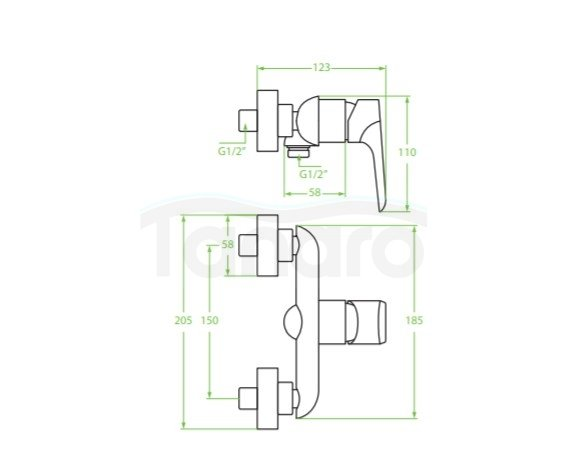 LAVEO - Bateria natryskowa biel/chrom ALEA BLE 640D