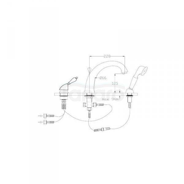 FROMAC - bateria wannowa 3-otworowa VARA 3805 brąz