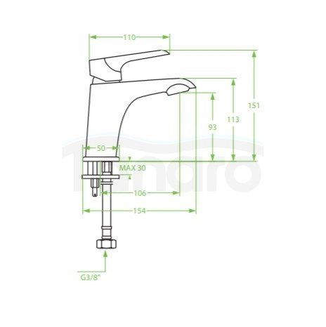 LAVEO - Bateria umywalkowa niska ALEA z korkiem klik-klak BLE 022D