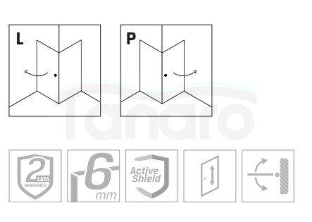 NEW TRENDY - Kabina kwadratowa czarna SUPERIA BLACK wzór pasy 90x90 K-0596/0604