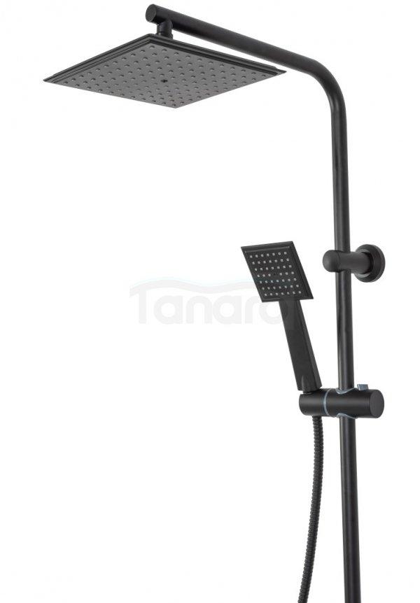 REA - Zestaw prysznicowy natryskowy BRAVO Black/czarny z półką
