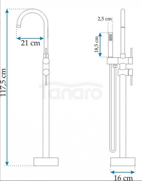 REA - Bateria podłogowa wolnostojąca wannowa ORTIS CHROM