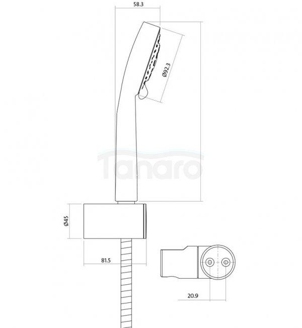 CERSANIT - Zestaw natryskowy z uchwytem punktowym LANO S951-022