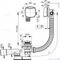 Alcaplast  syfon wannowy klik-klak z funkcją napełniania przez przelew chrom A508KM-80