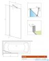 Radaway Idea Black Pnj parawan nawannowy 60cm L/P przejrzyste rysunek techniczny