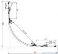 Omnires Bronx kabina asymetryczna 100x80cm szkło przejrzyste  rysunek techniczny