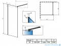 Radaway Modo New Black II 90x200 Frame kabina Walk-in 389094-54-56 rysunek techniczny