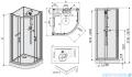 Sanplast Classic II Kabina czterościenna kompletna półokrągła KCKP4/CLIIa-90-S 90x90x210 cm przejrzysta 602-011-0331-38-4S1