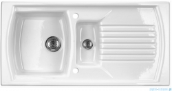 Deante Lusitano zlewozmywak ceramiczny 1,5-komorowy z ociekaczem biały ZCL 651N
