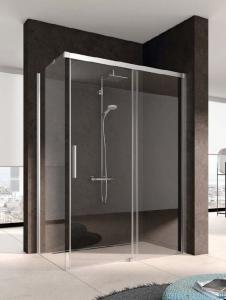 Kermi Nica Ściana boczna lewa, szkło przezroczyste, profile srebrne 90cm NITWL09020VPK