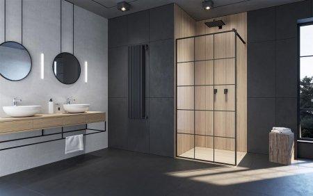 Kabiny i drzwi z czarnymi profilami - czarne wyposażenie łazienki