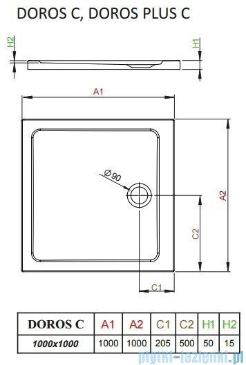 Radaway Arta Kdj II kabina 100x100cm lewa szkło przejrzyste + brodzik Doros C + syfon