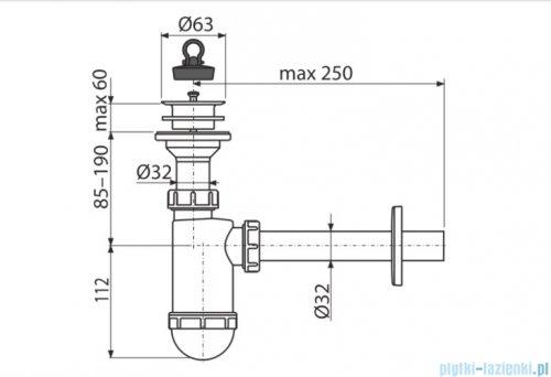 Alcaplast syfon umywalkowy DN32 sitko z tworzywa DN63 A420