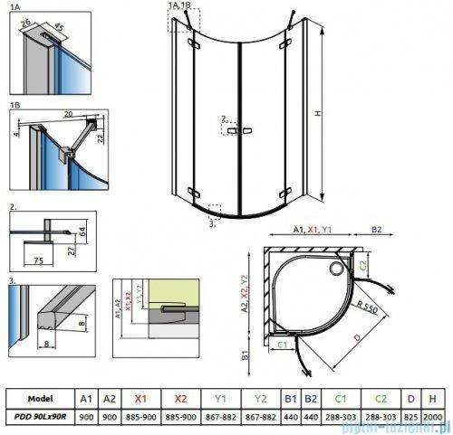 Radaway Fuenta New Pdd kabina 90x90cm szkło przejrzyste 384001-01-01L/384001-01-01R