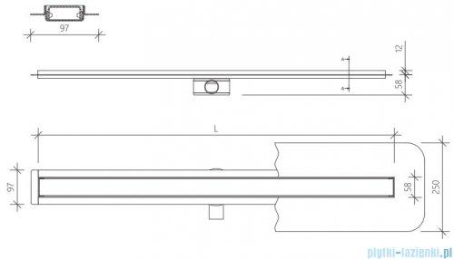 Wiper Premium Slim Ponente odpływ liniowy 60 cm z kołnierzem rysunek techniczny