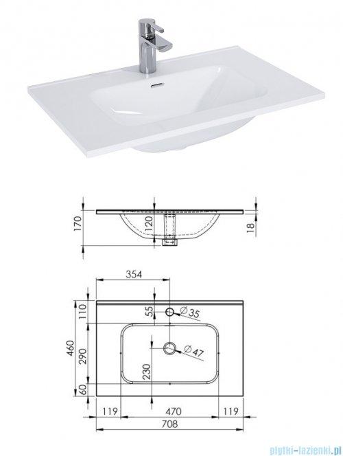 Elita Futuris szafka z umywalką 70x37x45cm anthracite 167237/145835