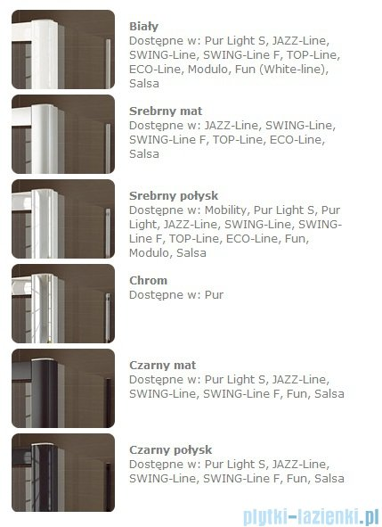 SanSwiss Swing Line F SLF1 Drzwi dwucześciowe 75cm profil biały Prawe SLF1D07500407