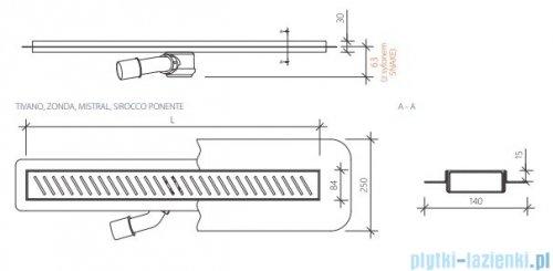 Wiper New Premium Tivano Odpływ liniowy z kołnierzem 110 cm szlif rysunek techniczny