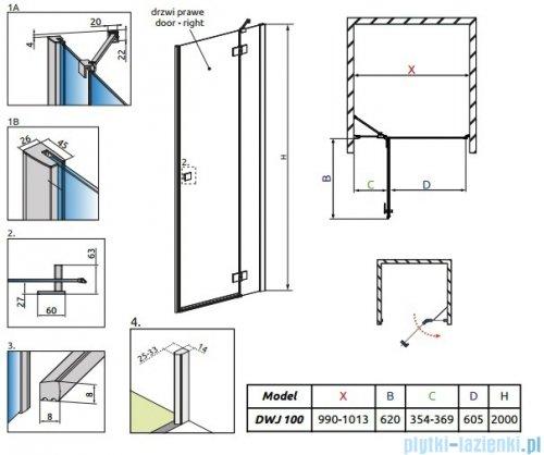 Radaway Essenza New Dwj drzwi wnękowe 100cm prawe szkło przejrzyste rysunek techniczny