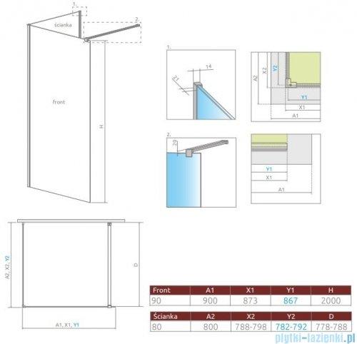 Radaway Modo New IV kabina Walk-in 90x80 szkło przejrzyste 389594-01-01/389084-01-01